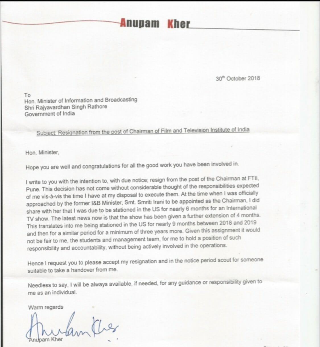 Read what Anupam Kher wrote in his resignation letter as FTII\'s chairman